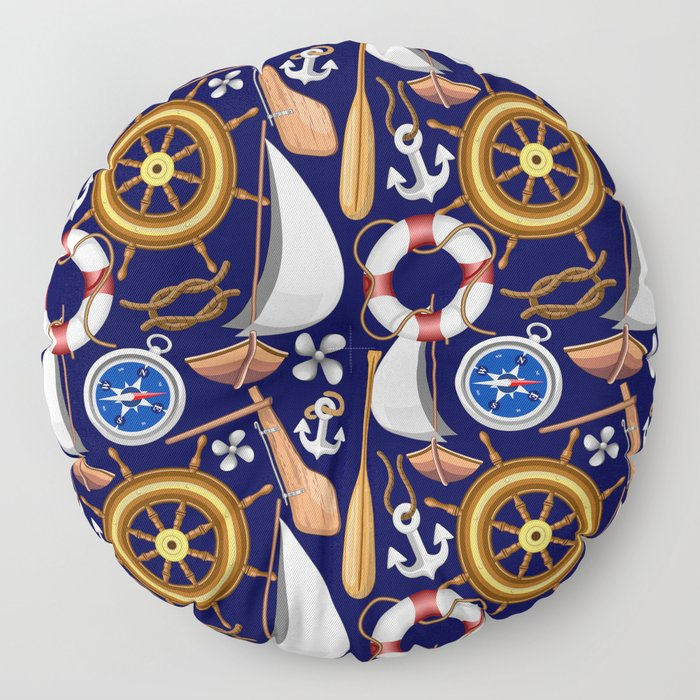 Nautical Marine and Navy Equipment Pattern Floor Pillow