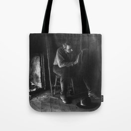 Vintage Adirondacks: Man Reading by the Fireplace Tote Bag