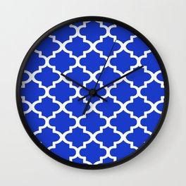 Arabesque Architecture Pattern In Royal Blue Wall Clock