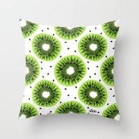 kiwi Throw Pillows featuring Kiwi by beach please
