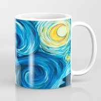 starry night Mugs featuring Starry Starry Night by Jade Cohen