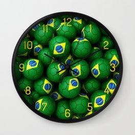 BRAZIL FOOTBALLS Wall Clock
