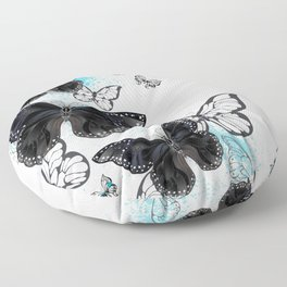 Background with Black Butterflies Floor Pillow