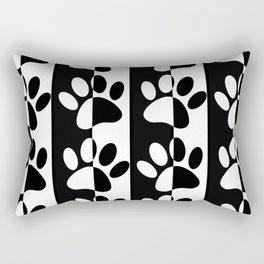 Black And White Dog Paws And Stripes Rectangular Pillow