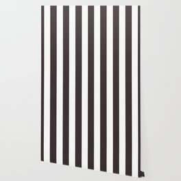 Black coffee - solid color - white vertical lines pattern Wallpaper