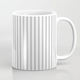 Mattress Ticking Narrow Striped Pattern in Charcoal Grey and White Coffee Mug