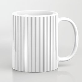 Mattress Ticking Narrow Striped Pattern in Charcoal Grey and White Coffee Mug