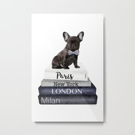 Frenchie, french, bulldog, Black, Fashion books, Fashion illustration, Fashion, wall art Metal Print