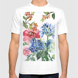 roses and hydrangeas in the garden T-shirt