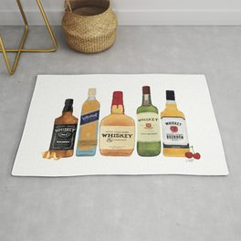 Whiskey Bottles Illustration Rug