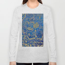 Mexican gold on blue Long Sleeve T-shirt