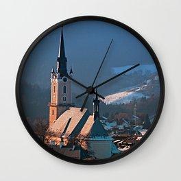 City church in winter wonderland | landscape photography Wall Clock