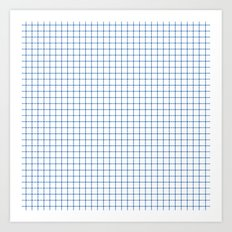 Blue on White Grid Art Print