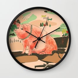 Farm Animals in Chairs #3 Pig Wall Clock