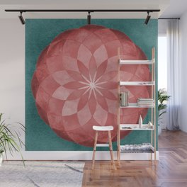 Watercolor Sacred Geometry Red Flower Mandala Wall Mural
