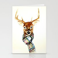 craftberrybush Stationery Cards featuring Deer buck with winter scarf - watercolor by craftberrybush