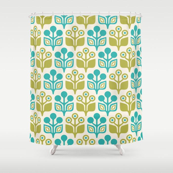 Mid Century Garden Flower Pattern Turquoise Chartreuse Shower Curtain By Tonymagner