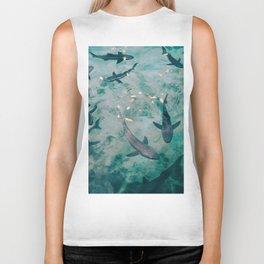Shoal of Sharks (Color) Biker Tank