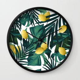Tropical Lemon Twist Jungle #1 #tropical #decor #art #society6 Wall Clock
