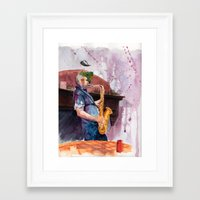 saxophone Framed Art Prints featuring Playing saxophone by aurora villaviejas