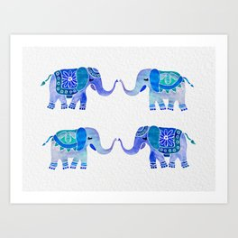 HAPPY ELEPHANTS - WATERCOLOR BLUE PALETTE Art Print