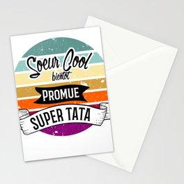 soeur cool bientot promue super tata, annonce future tante. Annonce naissance soeur. Stationery Cards
