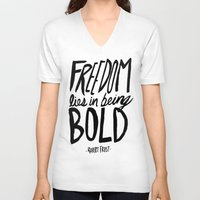 freedom V-neck T-shirts featuring Freedom  by Leah Flores
