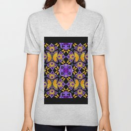 BLACK-GOLD-PURPLE BUTTERFLIES PANSY KALEIDOSCOPE Unisex V-Neck