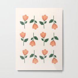 Pink Peony Pattern Metal Print