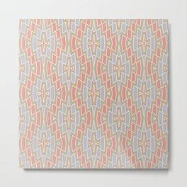 Tribal Diamond Pattern in Peach, Tan and Gray Metal Print