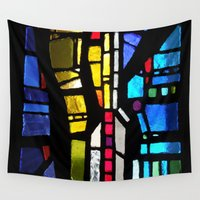 stained glass Wall Tapestries featuring Stained Glass by Lady Tanya bleudragon