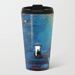 Tardis And The Doctor Lost In The Forest Metal Travel Mug