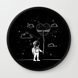 Astronaut Draw with Heart Wall Clock