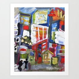 Walking Street Abstract City Scape Blue Red Yellow White Geometric Art Print