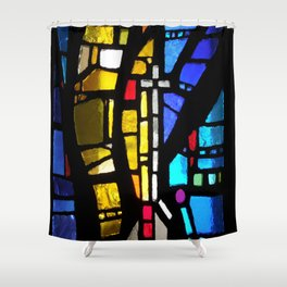 Stained Glass with Cross Shower Curtain