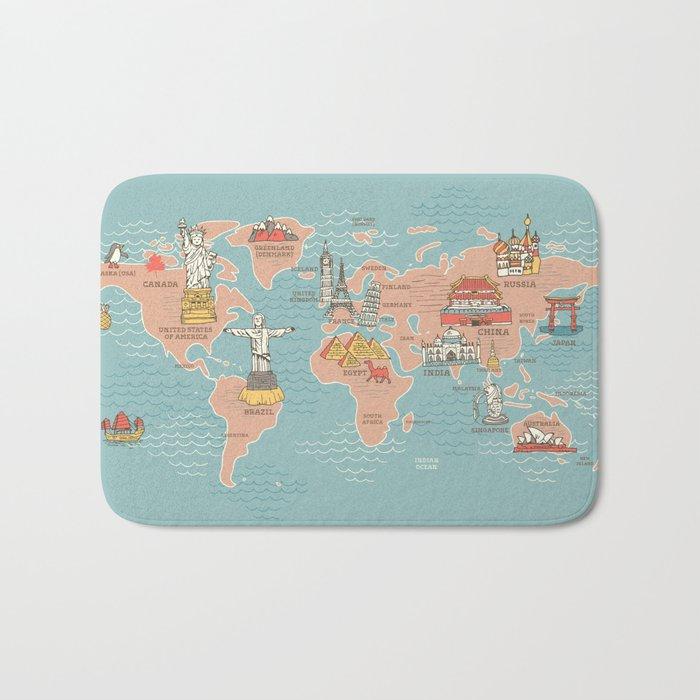World Map Cartoon Style Bath Mat