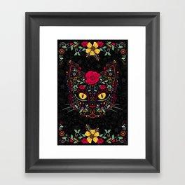 Day of the Dead Kitty Cat Sugar Skull Framed Art Print