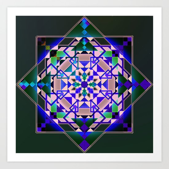 Green, blue shapes and patterns Art Print