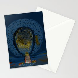 Tree Cactus in a Blue Desert Stationery Cards