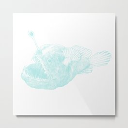 Black seadevil - blue Metal Print