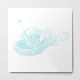 Black seadevil - blue Metal Print