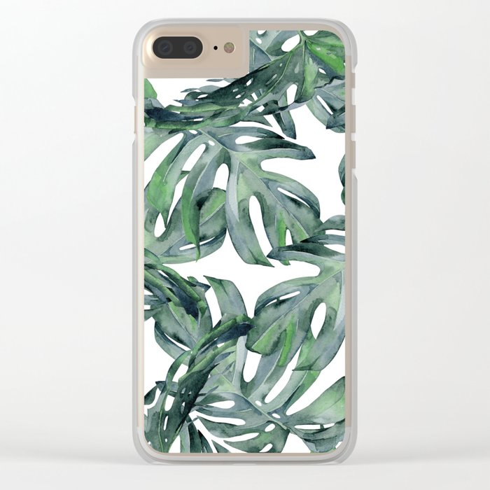 Tropical Palm Leaves Green and White Clear iPhone Case
