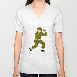 World War Two American Soldier Binoculars Cartoon Unisex V-Neck