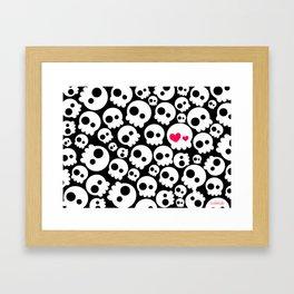 A skull in love Framed Art Print