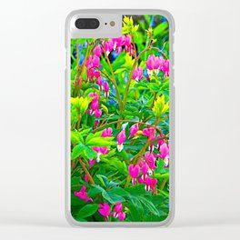 GREEN SPRING GARDEN PINK BLEEDING HEARTS Clear iPhone Case