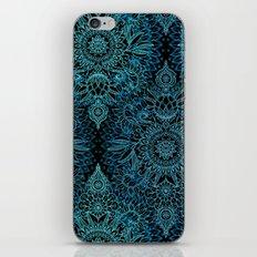 Black & Aqua Protea Doodle Pattern iPhone & iPod Skin