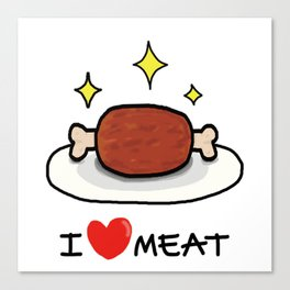 "I LOVE MEAT ""MANGA"" Canvas Print"