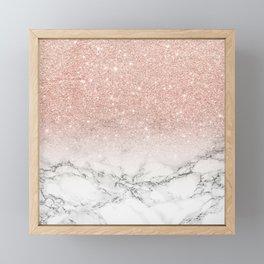 Modern faux rose gold pink glitter ombre white marble Framed Mini Art Print