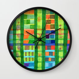 Colored Fields With Bamboo Wall Clock