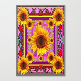 Purple-Red  Geometric Gypsy Sunflower Pattern Art Canvas Print